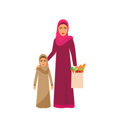 muslim family shopping on supermarket sale cartoon vector image
