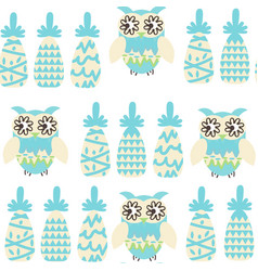 owls and pineapples fantasy colorful seamless vector image