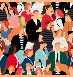 People crowd seamless pattern vector