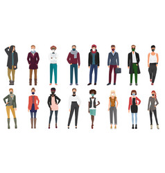 people models in stylish fashion clothes wearing vector image