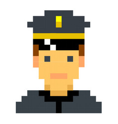 police officer sheriff cop pixel art cartoon retro vector image
