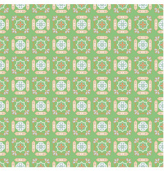 Portuguese style ceramic tile green seamless vector