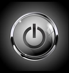 Power button 3d shiny gray icon for media vector
