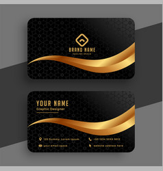 Premium golden and black wavy business card design vector