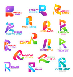 r letter corporate identity business icons vector image