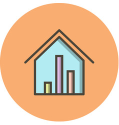 Real estate stats icon vector