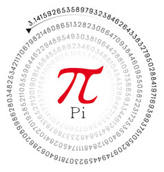 Red pi sign and the number in spiral form vector