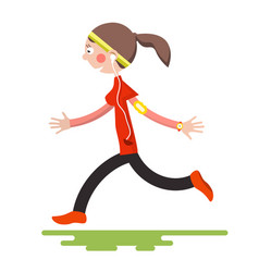 running woman isolated on white background flat vector image