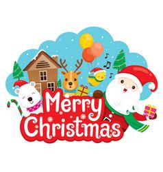 Santa claus reindeer and friend on merry vector