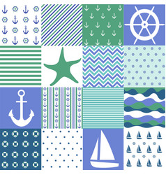 sea seamless patterns nautical design vector image