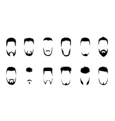 set bearded men faces hipsters with vector image