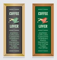 Set Of Isolated Coffee Menu Board vector