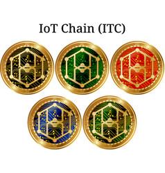 Set of physical golden coin iot chain itc vector
