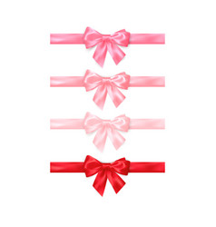 set realistic shiny red and pink bows isolated vector image