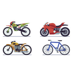set vehicles racing motorcycles sports vector image
