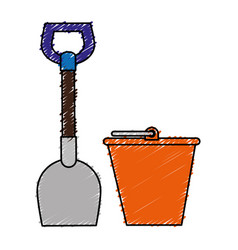 Shovel tool and sand bucket vector