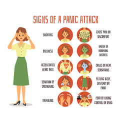 Signs and symptoms a panic attack in a woman or vector