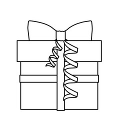 silhouette gift box with knot ribbon vector image