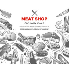 sketch meat hand drawn meat organic products vector image