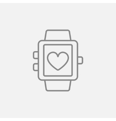 Smartwatch with heart sign line icon vector