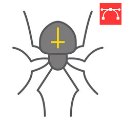 Spider color line icon halloween and scary vector