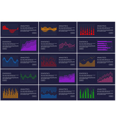 statistics and analytics banner information charts vector image