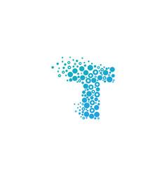 T particle letter logo icon design vector