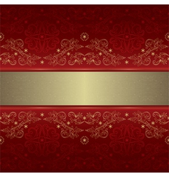 Template gold floral seamless pattern on red vector