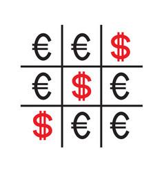 tic-tac-toe money concept vector image