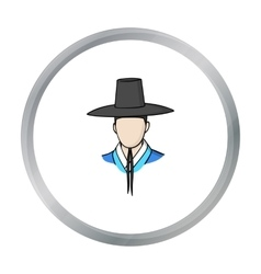 Traditional korean hat icon in cartoon style vector