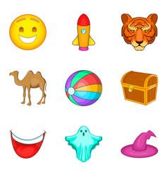 training animal icons set cartoon style vector image