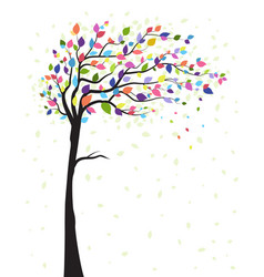 tree and colorful leaves vector image