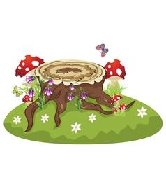 Tree Stump and Mushrooms2 vector image