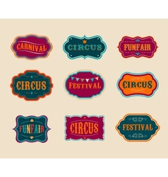 Vintage circus labels set vector