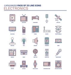 Vintage electronics icon set - 25 flat line icon vector