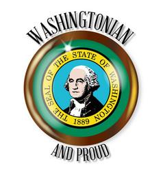 washington proud flag button vector image