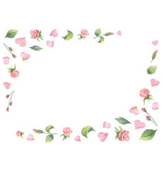 Watercolor frame from green leaves flowers vector