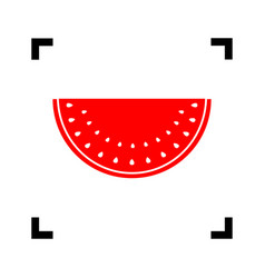 watermelon sign red icon inside black vector image