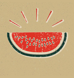 watermelon slice printed on yellow paper vector image