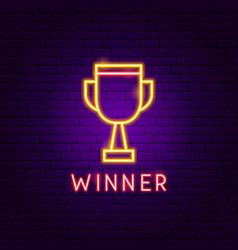 winner neon label vector image
