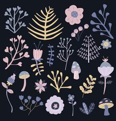 winter flowers isolated set dark background vector image