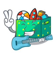 with guitar kids toys in the cartoon box vector image