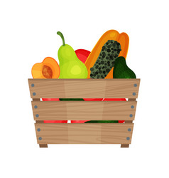 wooden box full of ripe fruits organic and fresh vector image