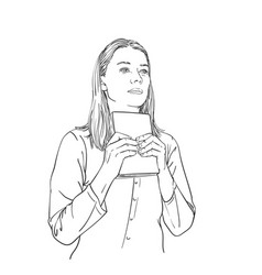 Young woman holds book in hands looks straight vector
