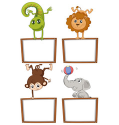 border templates with cute animals vector image vector image