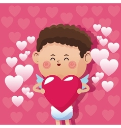 cute little cupid valentine day glossy cute pink vector image