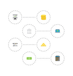 flat icons bank teller machine money and other vector image vector image