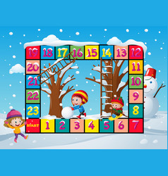 game template with kids in snow vector image vector image