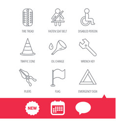 tire tread traffic cone and wrench key icons vector image