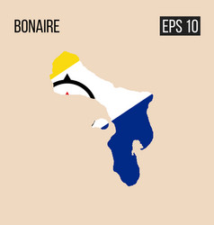 bonaire map border with flag eps10 vector image
